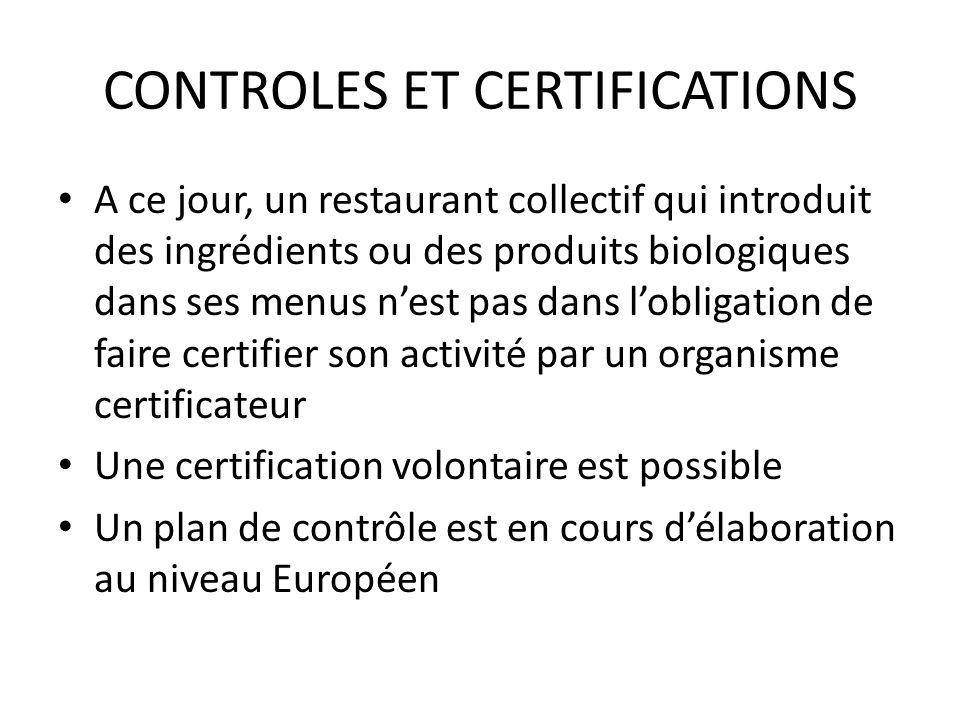 CONTROLES ET CERTIFICATIONS A ce jour, un restaurant collectif qui introduit des ingrédients ou des produits biologiques dans ses menus nest pas dans