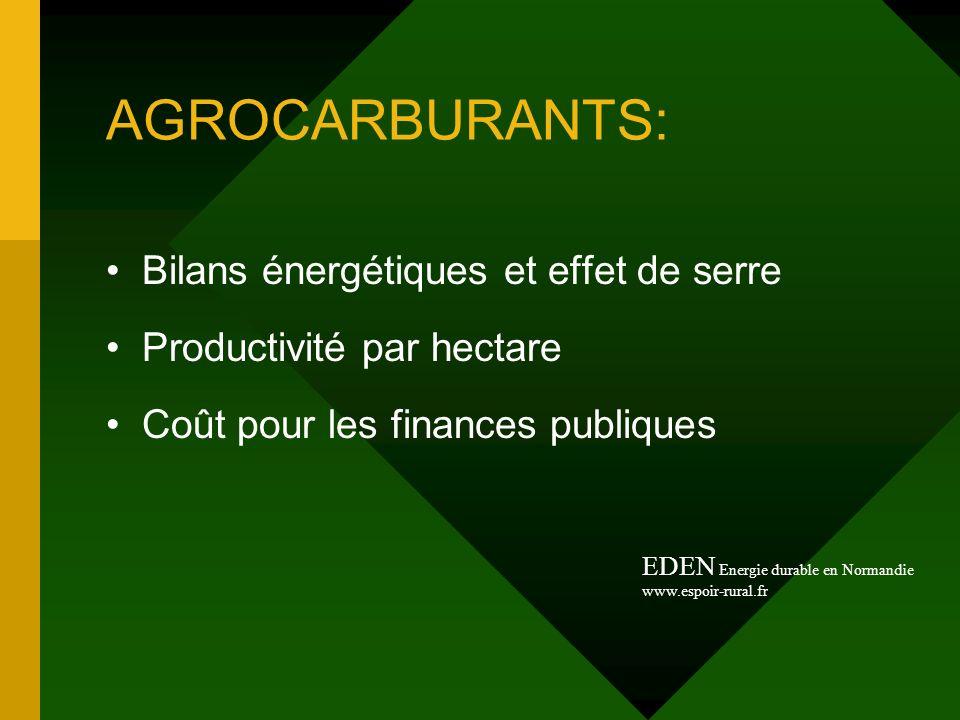 AGROCARBURANTS: Bilans énergétiques et effet de serre Productivité par hectare Coût pour les finances publiques EDEN Energie durable en Normandie www.