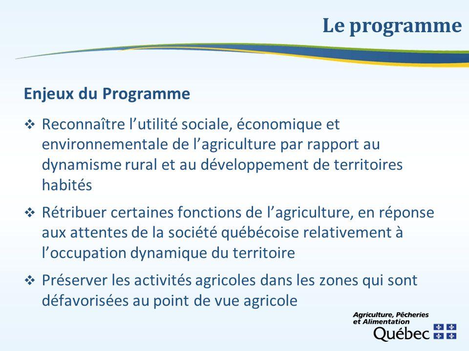Enjeux du Programme Reconnaître lutilité sociale, économique et environnementale de lagriculture par rapport au dynamisme rural et au développement de
