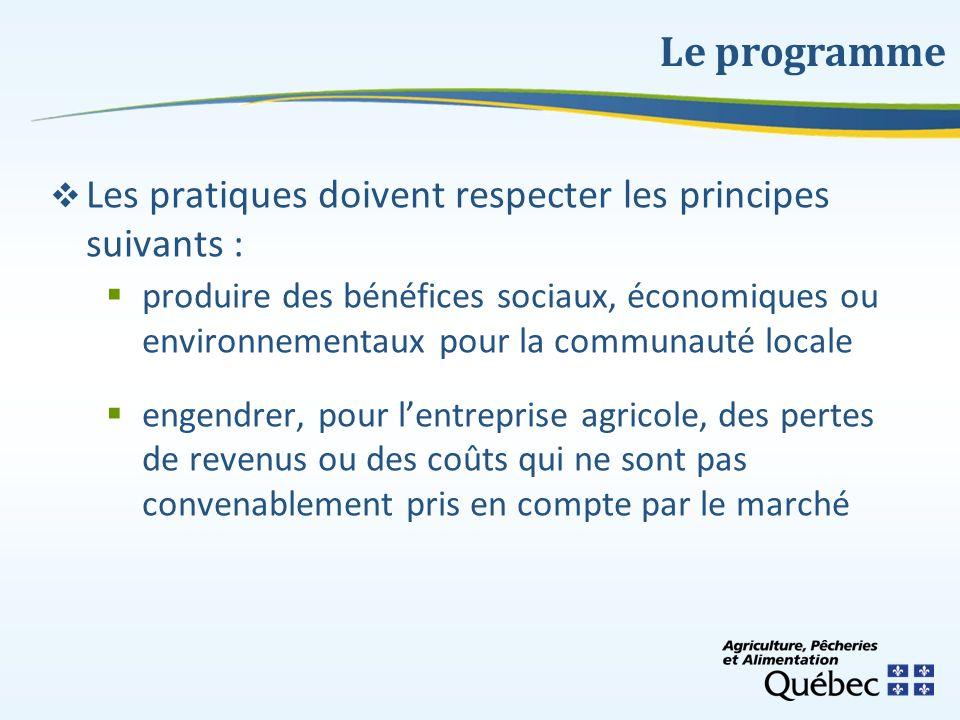 Les pratiques doivent respecter les principes suivants : produire des bénéfices sociaux, économiques ou environnementaux pour la communauté locale eng