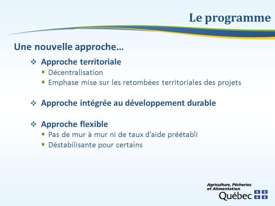 Une nouvelle approche… Approche territoriale Décentralisation Emphase mise sur les retombées territoriales des projets Approche intégrée au développem