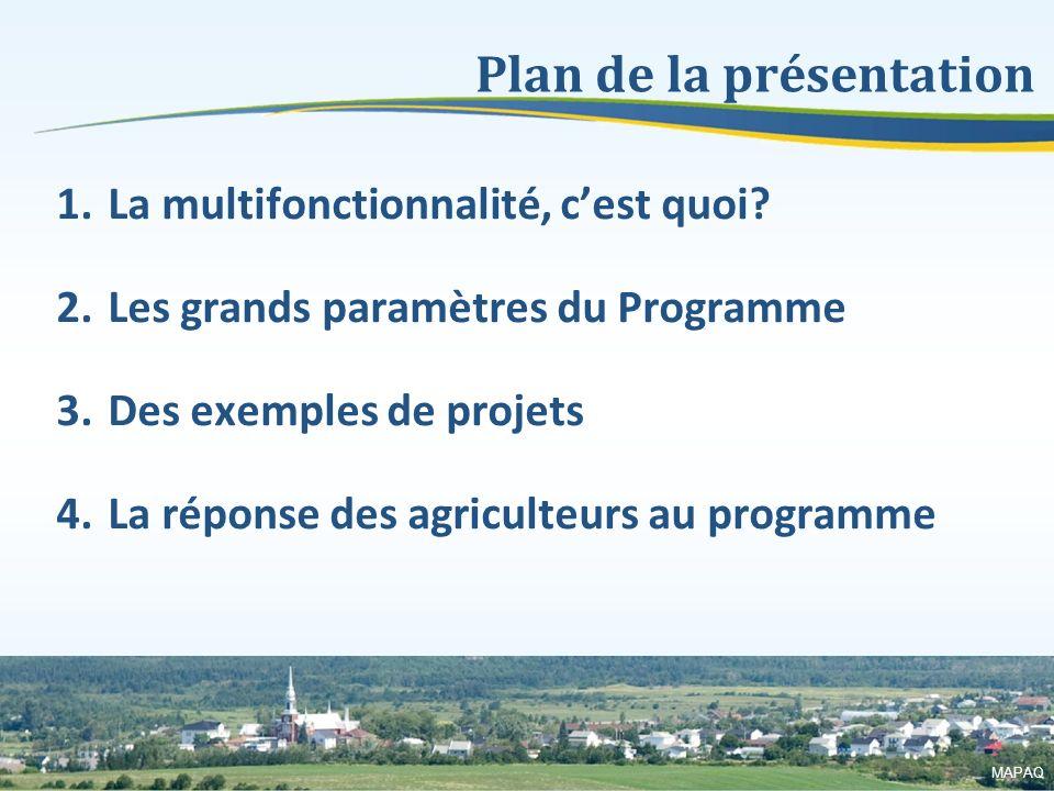 4 1.La multifonctionnalité, cest quoi? 2.Les grands paramètres du Programme 3.Des exemples de projets 4.La réponse des agriculteurs au programme Plan