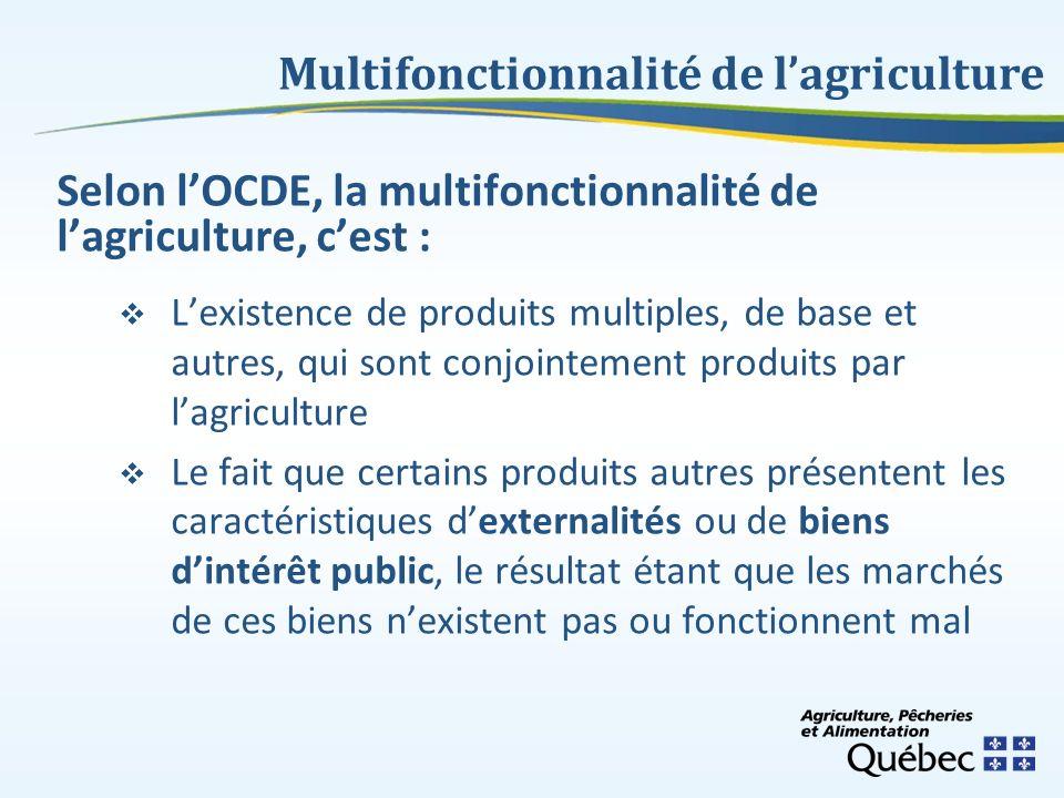 Selon lOCDE, la multifonctionnalité de lagriculture, cest : Lexistence de produits multiples, de base et autres, qui sont conjointement produits par l