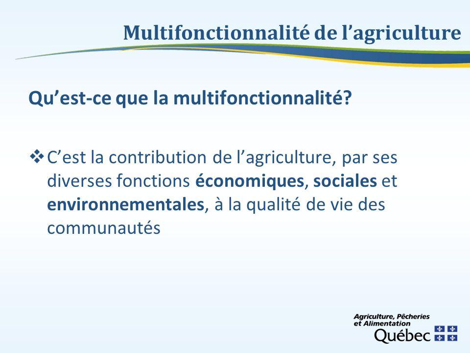 Quest-ce que la multifonctionnalité? Cest la contribution de lagriculture, par ses diverses fonctions économiques, sociales et environnementales, à la