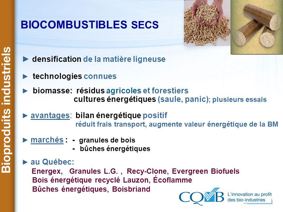 BIOCOMBUSTIBLES SECS densification de la matière ligneuse technologies connues biomasse: résidus agricoles et forestiers cultures énergétiques (saule,