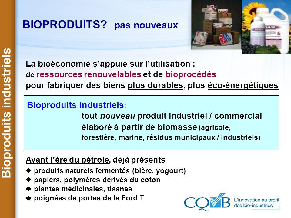 BIOPRODUITS? pas nouveaux La bioéconomie sappuie sur lutilisation : de ressources renouvelables et de bioprocédés pour fabriquer des biens plus durabl