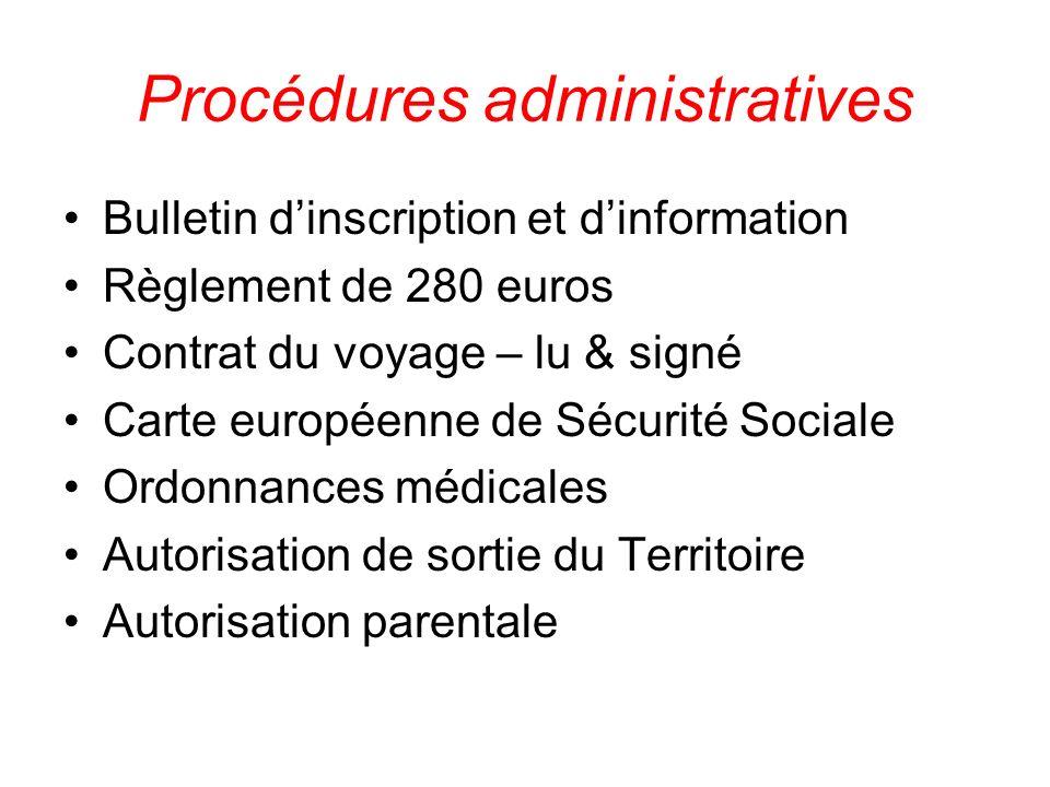Procédures administratives Bulletin dinscription et dinformation Règlement de 280 euros Contrat du voyage – lu & signé Carte européenne de Sécurité So