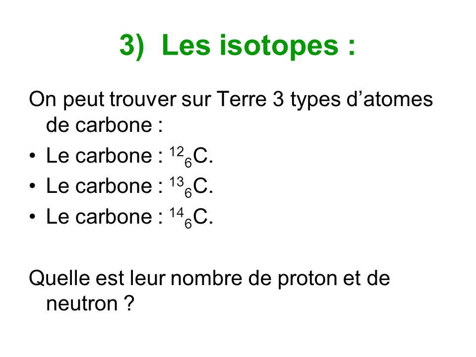 3) Les isotopes : On peut trouver sur Terre 3 types datomes de carbone : Le carbone : 12 6 C. Le carbone : 13 6 C. Le carbone : 14 6 C. Quelle est leu