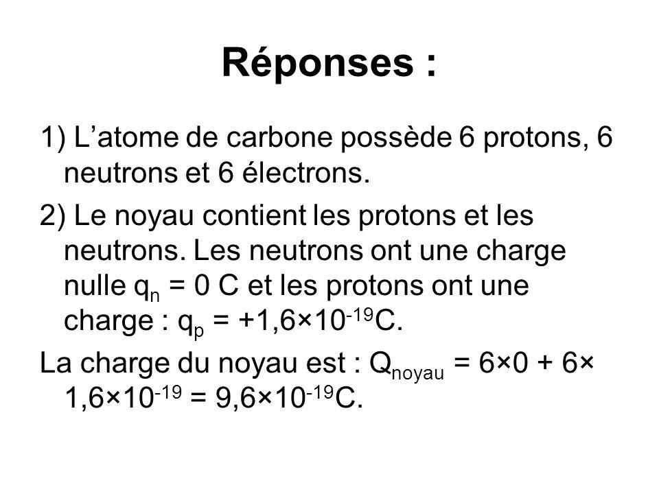 Réponses : 1) Latome de carbone possède 6 protons, 6 neutrons et 6 électrons. 2) Le noyau contient les protons et les neutrons. Les neutrons ont une c