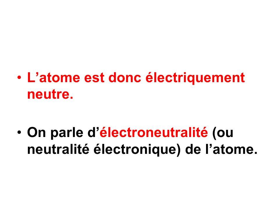 Latome est donc électriquement neutre. On parle délectroneutralité (ou neutralité électronique) de latome.