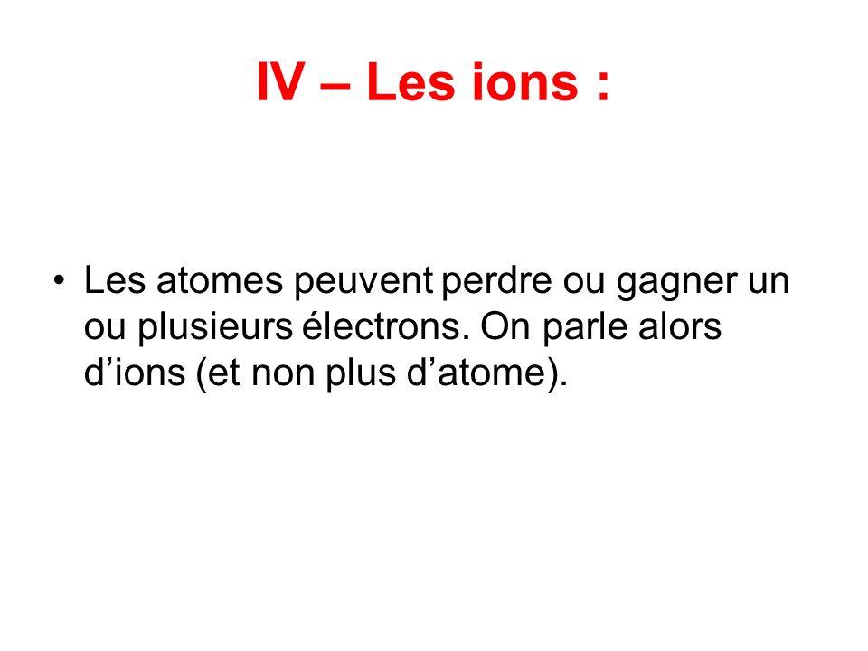 IV – Les ions : Les atomes peuvent perdre ou gagner un ou plusieurs électrons. On parle alors dions (et non plus datome).