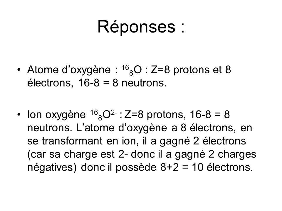 Atome doxygène : 16 8 O : Z=8 protons et 8 électrons, 16-8 = 8 neutrons. Ion oxygène 16 8 O 2- : Z=8 protons, 16-8 = 8 neutrons. Latome doxygène a 8 é