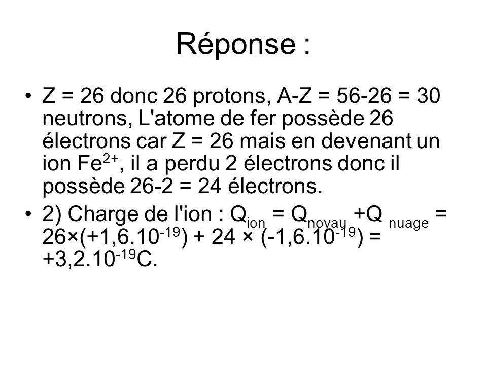 Réponse : Z = 26 donc 26 protons, A-Z = 56-26 = 30 neutrons, L'atome de fer possède 26 électrons car Z = 26 mais en devenant un ion Fe 2+, il a perdu