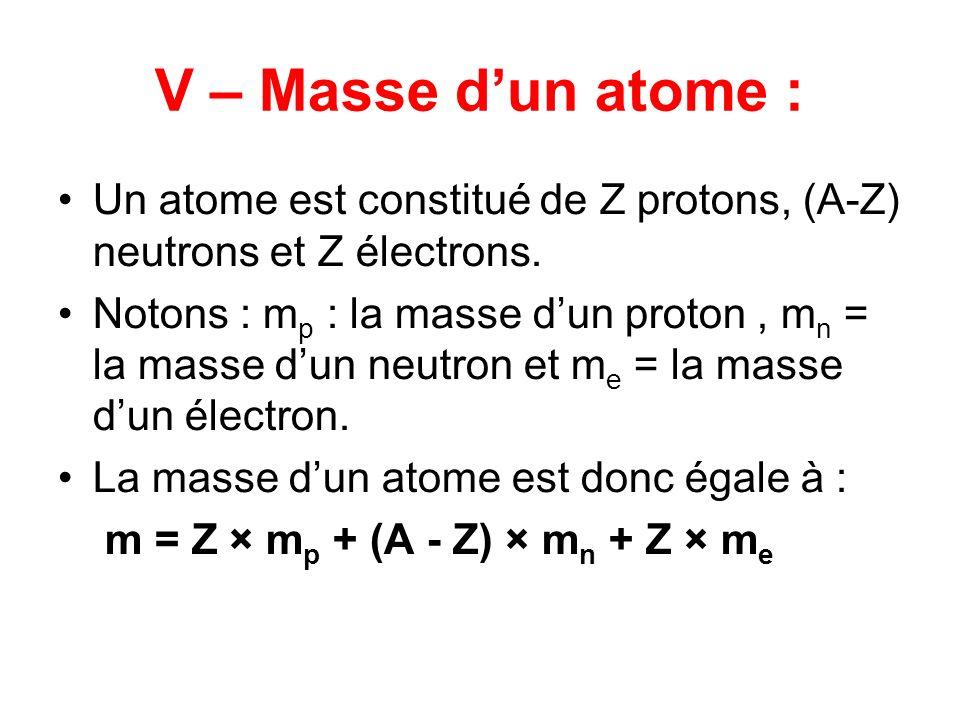V – Masse dun atome : Un atome est constitué de Z protons, (A-Z) neutrons et Z électrons. Notons : m p : la masse dun proton, m n = la masse dun neutr