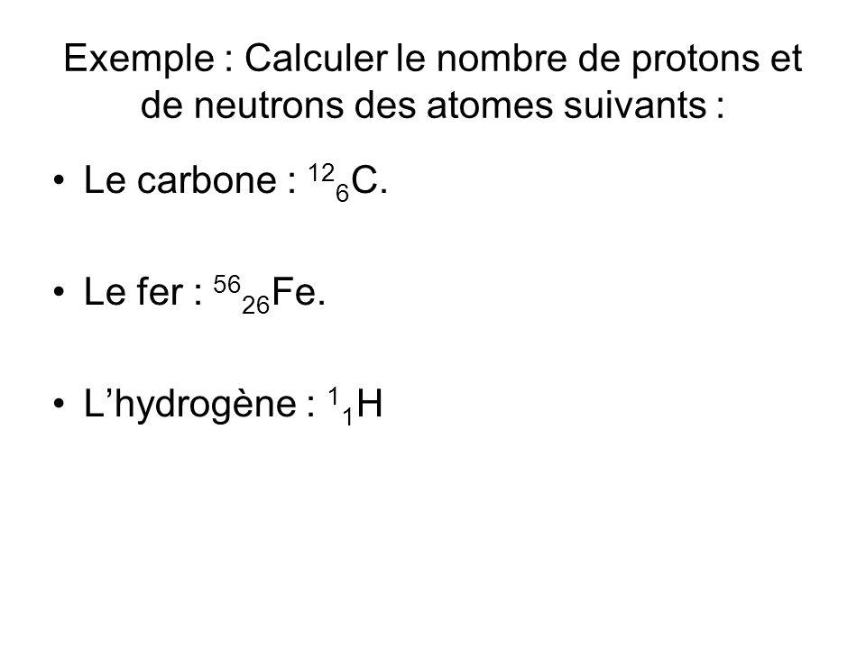 Exemple : Calculer le nombre de protons et de neutrons des atomes suivants : Le carbone : 12 6 C. Le fer : 56 26 Fe. Lhydrogène : 1 1 H