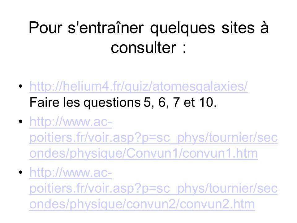 Pour s entraîner quelques sites à consulter : http://helium4.fr/quiz/atomesgalaxies/ Faire les questions 5, 6, 7 et 10.http://helium4.fr/quiz/atomesgalaxies/ http://www.ac- poitiers.fr/voir.asp?p=sc_phys/tournier/sec ondes/physique/Convun1/convun1.htmhttp://www.ac- poitiers.fr/voir.asp?p=sc_phys/tournier/sec ondes/physique/Convun1/convun1.htm http://www.ac- poitiers.fr/voir.asp?p=sc_phys/tournier/sec ondes/physique/convun2/convun2.htmhttp://www.ac- poitiers.fr/voir.asp?p=sc_phys/tournier/sec ondes/physique/convun2/convun2.htm