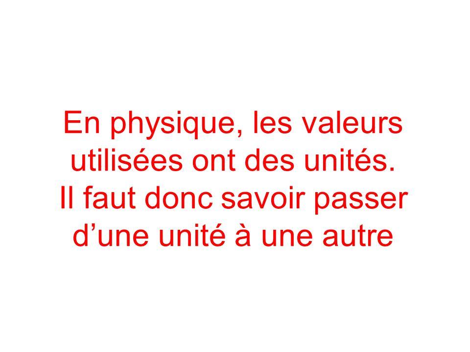 En physique, les valeurs utilisées ont des unités. Il faut donc savoir passer dune unité à une autre