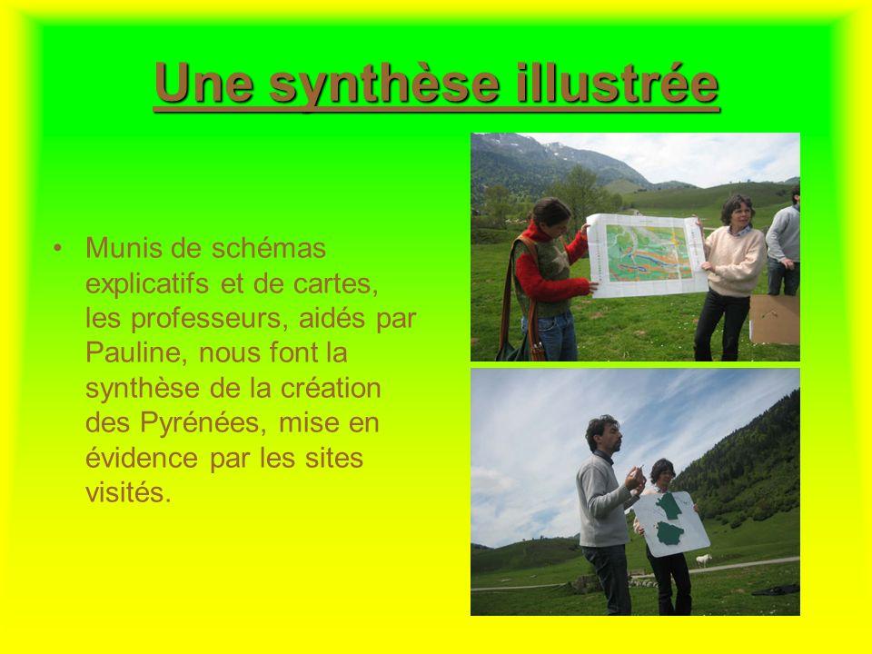 Une synthèse illustrée Munis de schémas explicatifs et de cartes, les professeurs, aidés par Pauline, nous font la synthèse de la création des Pyrénée