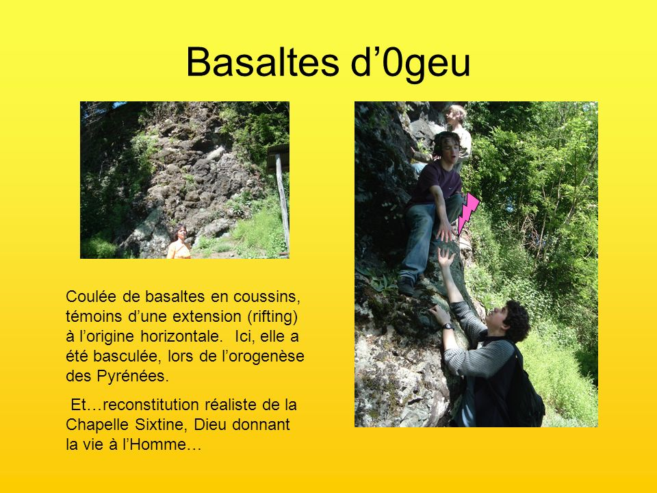 Basaltes d0geu Coulée de basaltes en coussins, témoins dune extension (rifting) à lorigine horizontale. Ici, elle a été basculée, lors de lorogenèse d