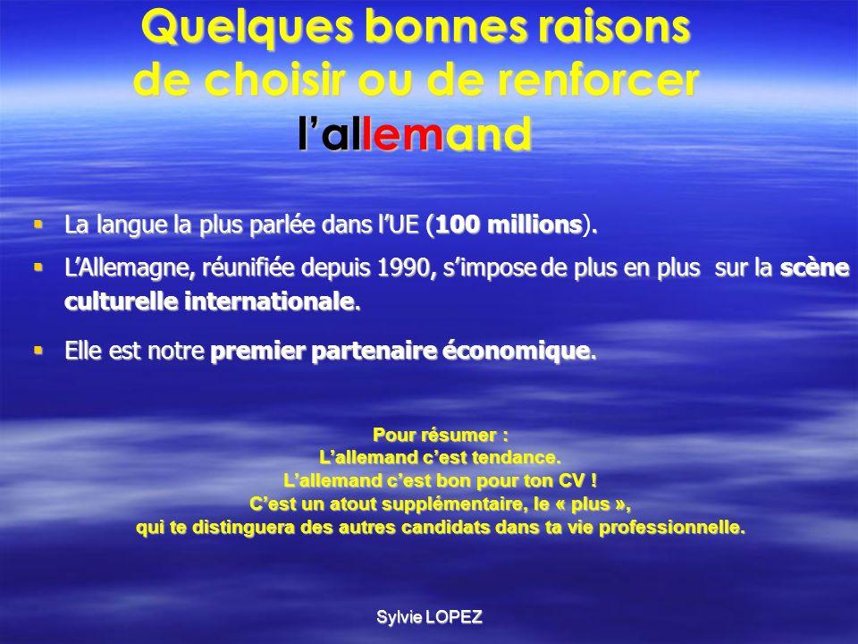 Sylvie LOPEZ LAllemagne et la France sont liées par un réseau unique déchanges bilatéraux.