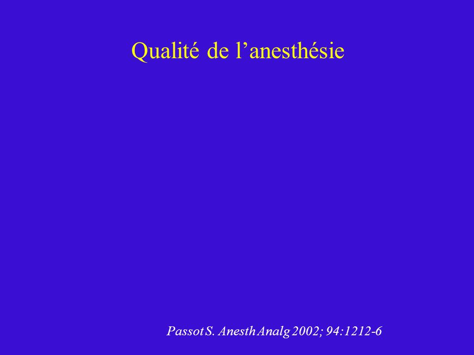 Qualité de lanesthésie Passot S. Anesth Analg 2002; 94:1212-6