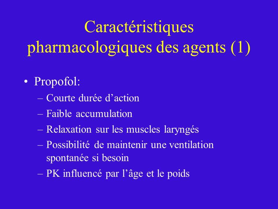 Caractéristiques pharmacologiques des agents (1) Propofol: –Courte durée daction –Faible accumulation –Relaxation sur les muscles laryngés –Possibilit