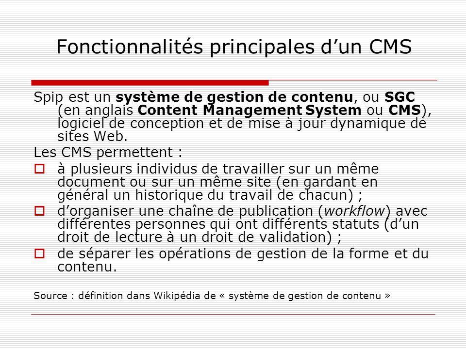 Fonctionnalités principales dun CMS En quoi un CMS est-il différent dun blog ou dun wiki .