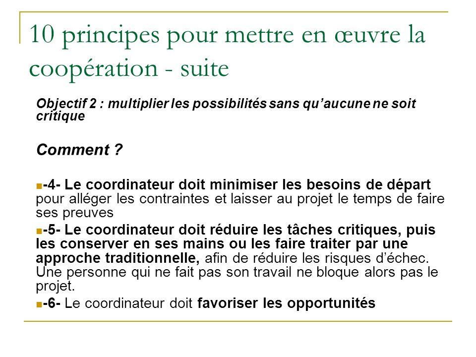 10 principes pour mettre en œuvre la coopération - suite Objectif 2 : multiplier les possibilités sans quaucune ne soit critique Comment .