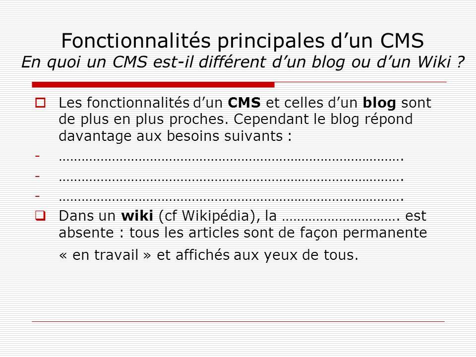 Les fonctionnalités dun CMS et celles dun blog sont de plus en plus proches.