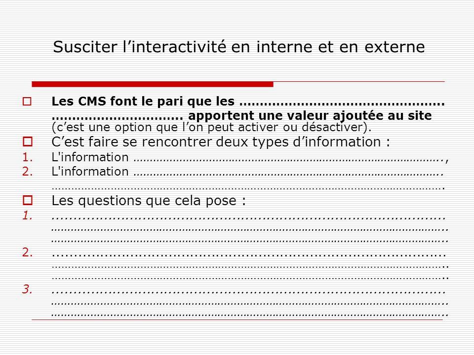Susciter linteractivité en interne et en externe Les CMS font le pari que les …………………………………………..