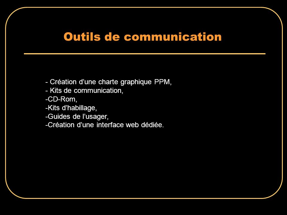 Outils de communication - Création dune charte graphique PPM, - Kits de communication, -CD-Rom, -Kits dhabillage, -Guides de lusager, -Création dune interface web dédiée.