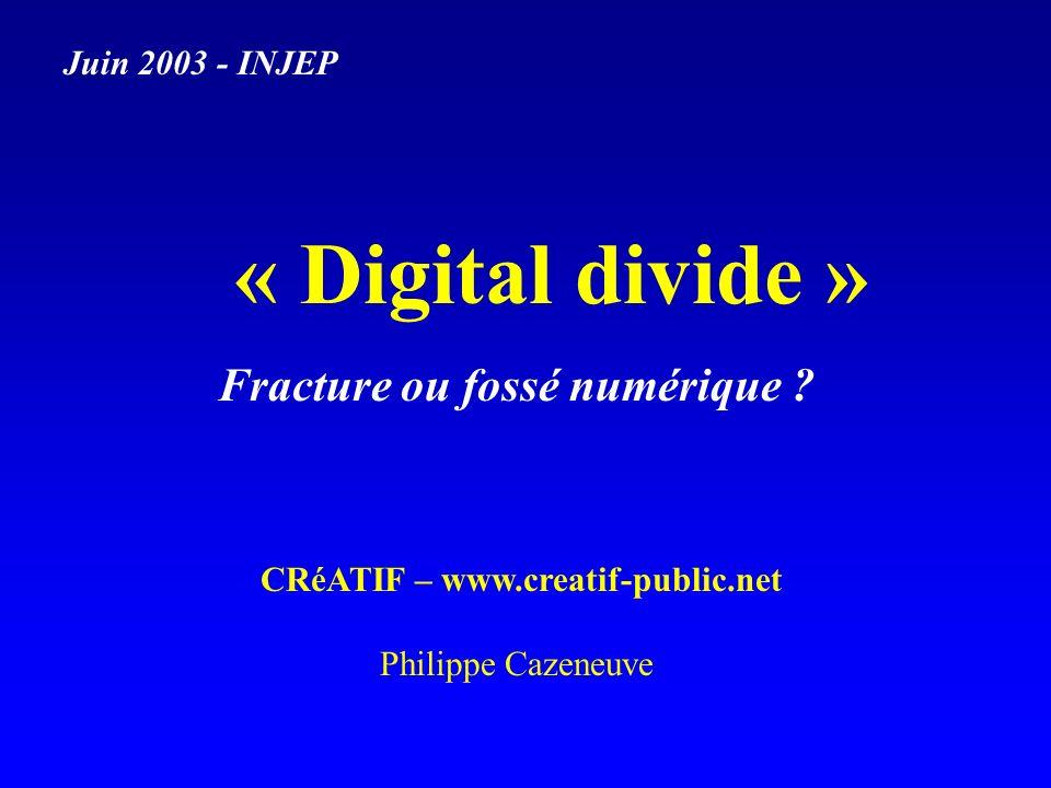 « Digital divide » Juin 2003 - INJEP Fracture ou fossé numérique .