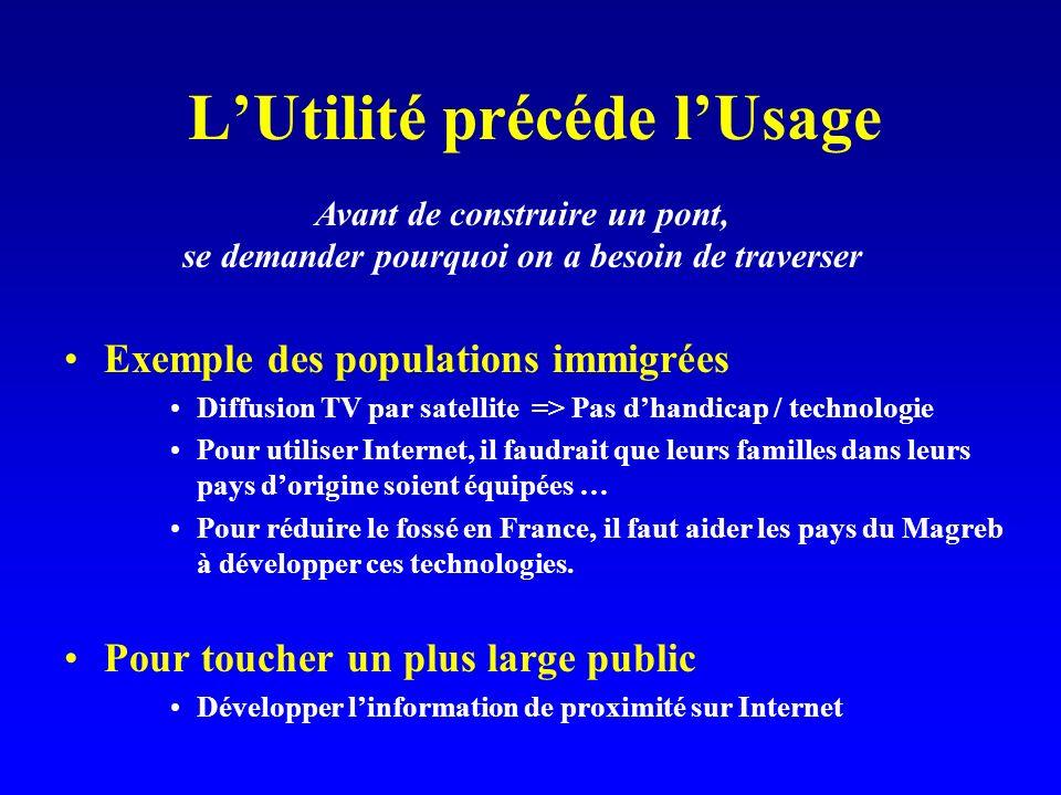 LUtilité précéde lUsage Exemple des populations immigrées Diffusion TV par satellite => Pas dhandicap / technologie Pour utiliser Internet, il faudrait que leurs familles dans leurs pays dorigine soient équipées … Pour réduire le fossé en France, il faut aider les pays du Magreb à développer ces technologies.