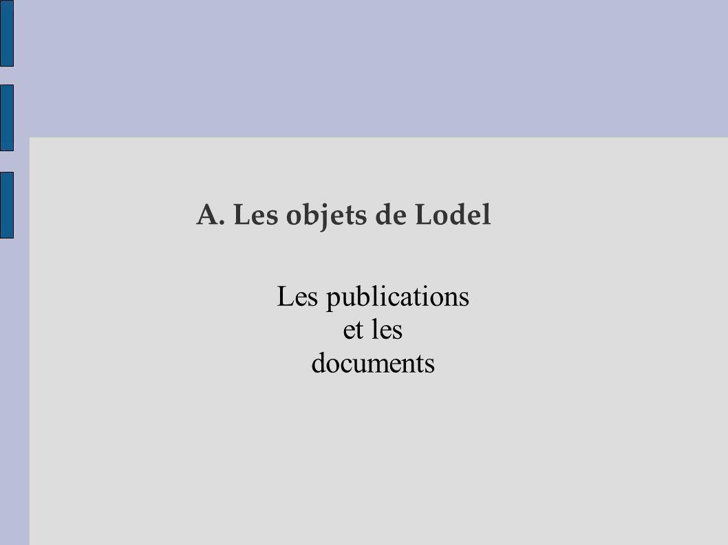 A. Les objets de Lodel Les publications et les documents