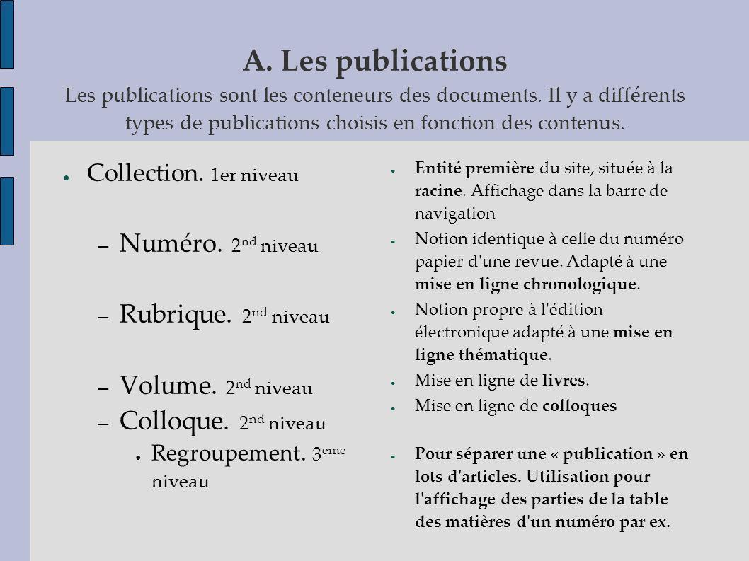 A. Les publications Les publications sont les conteneurs des documents. Il y a différents types de publications choisis en fonction des contenus. Coll