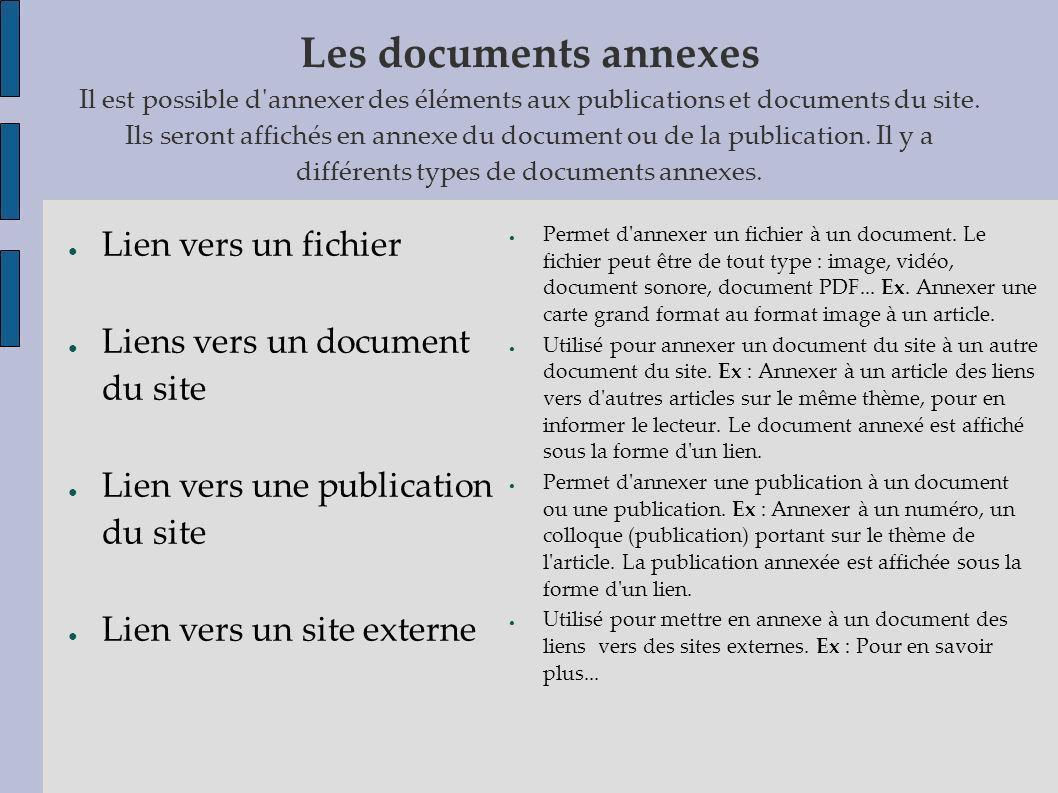 Les documents annexes Il est possible d'annexer des éléments aux publications et documents du site. Ils seront affichés en annexe du document ou de la