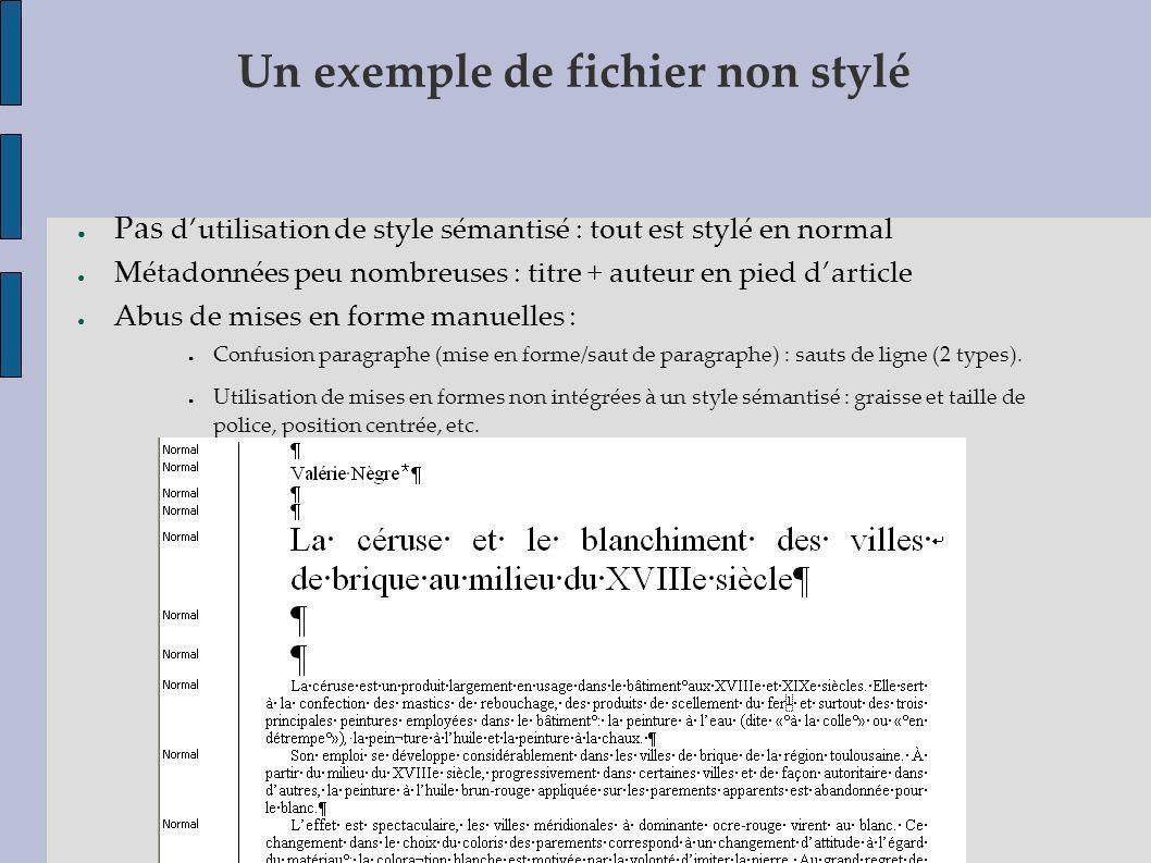 Un exemple de fichier non stylé Pas dutilisation de style sémantisé : tout est stylé en normal Métadonnées peu nombreuses : titre + auteur en pied dar