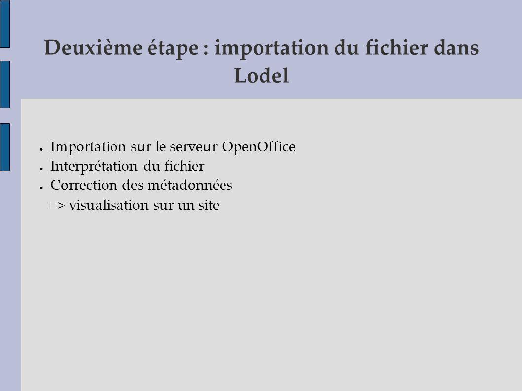Deuxième étape : importation du fichier dans Lodel Importation sur le serveur OpenOffice Interprétation du fichier Correction des métadonnées => visua