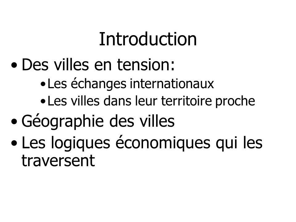 Introduction Des villes en tension: Les échanges internationaux Les villes dans leur territoire proche Géographie des villes Les logiques économiques