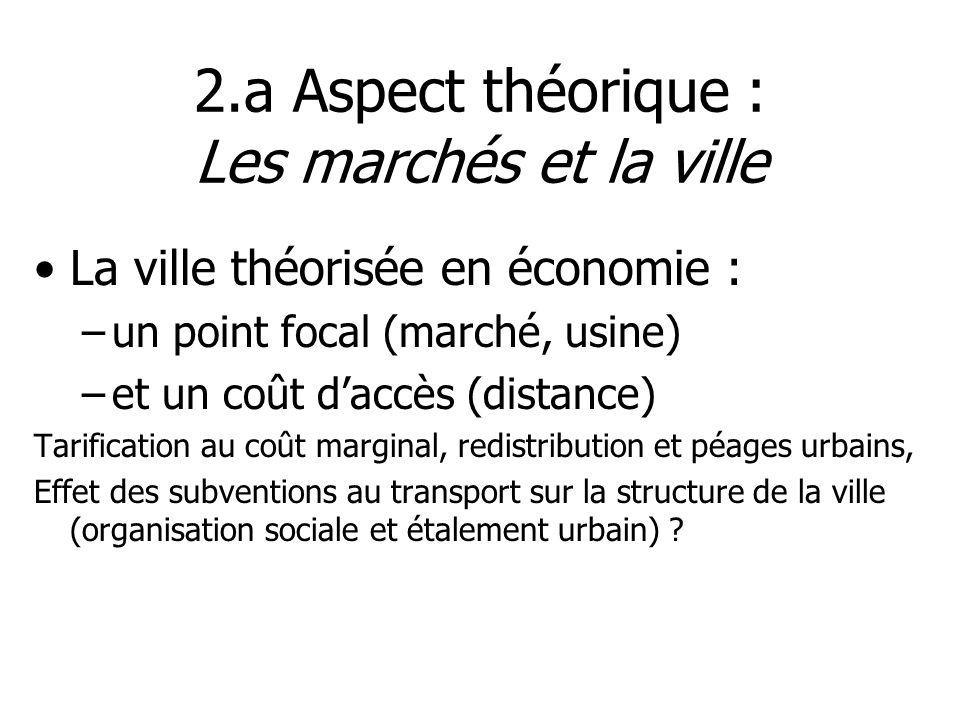 2.a Aspect théorique : Les marchés et la ville La ville théorisée en économie : –un point focal (marché, usine) –et un coût daccès (distance) Tarifica