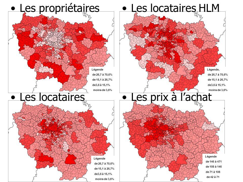 Les propriétairesLes locataires HLM Les locatairesLes prix à lachat Légende de 146 à 471 de 108 à 146 de 71 à 108 de 42 à 71 Légende, de 26,7 à 70,6%