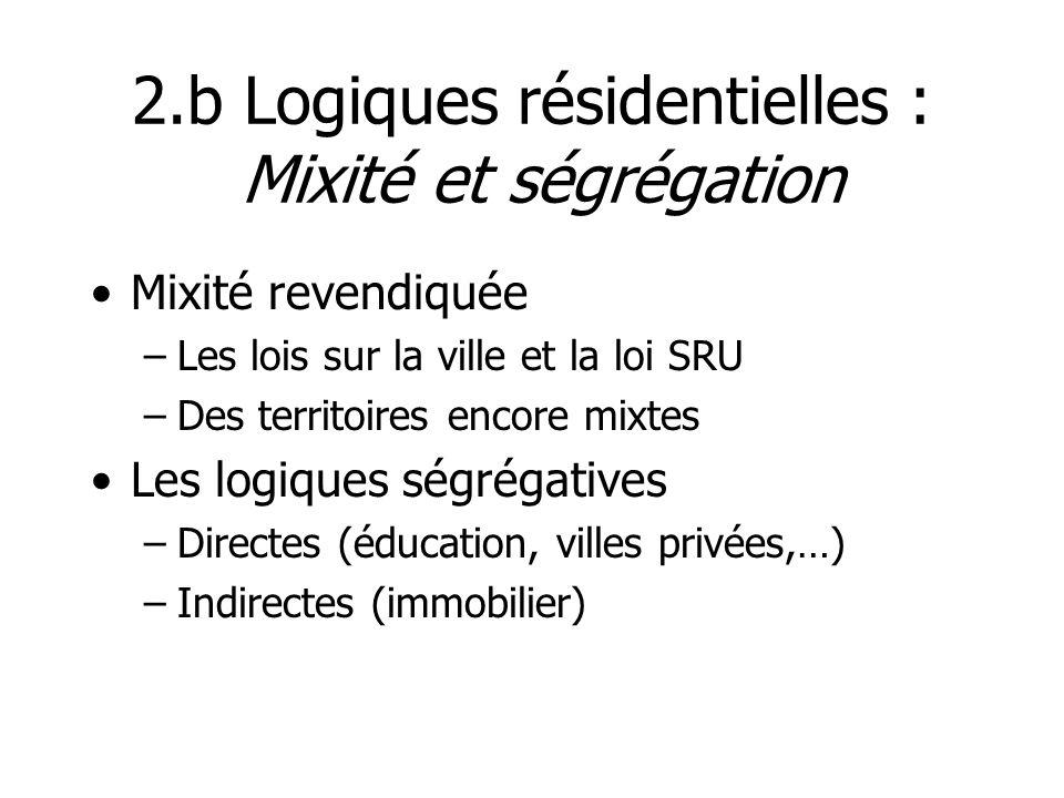 2.b Logiques résidentielles : Mixité et ségrégation Mixité revendiquée –Les lois sur la ville et la loi SRU –Des territoires encore mixtes Les logique