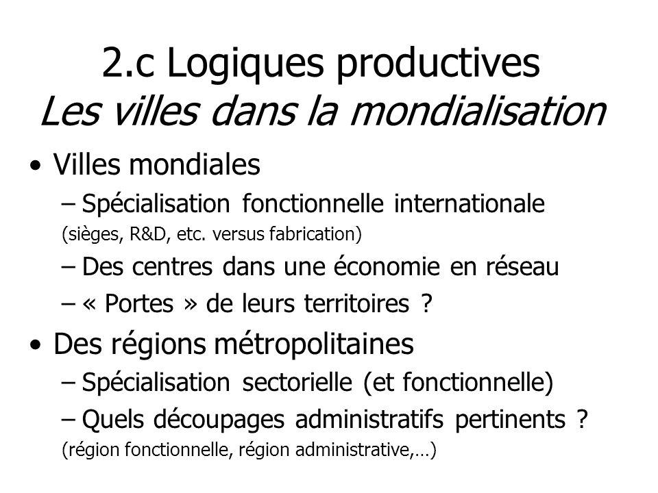 Villes mondiales –Spécialisation fonctionnelle internationale (sièges, R&D, etc. versus fabrication) –Des centres dans une économie en réseau –« Porte