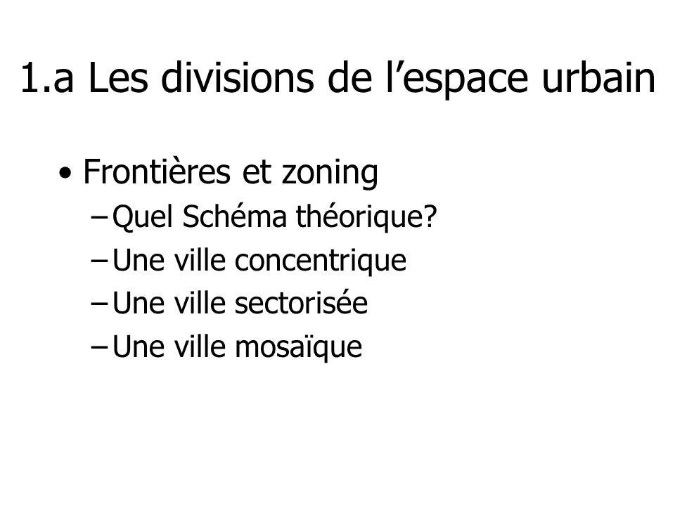 1.a Les divisions de lespace urbain Frontières et zoning –Quel Schéma théorique? –Une ville concentrique –Une ville sectorisée –Une ville mosaïque
