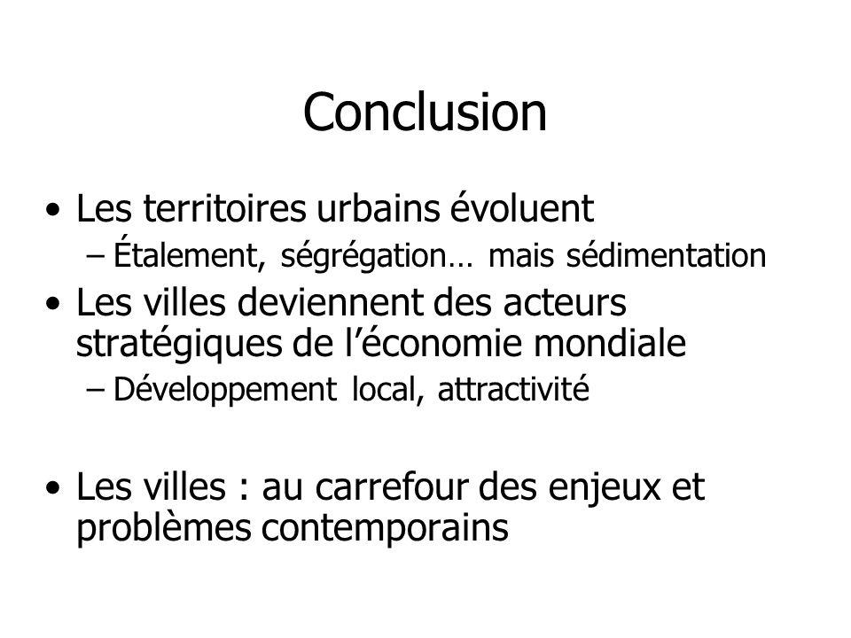 Conclusion Les territoires urbains évoluent –Étalement, ségrégation… mais sédimentation Les villes deviennent des acteurs stratégiques de léconomie mo