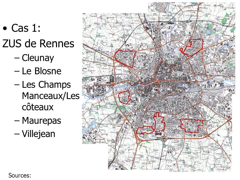 Cas 1: ZUS de Rennes –Cleunay –Le Blosne –Les Champs Manceaux/Les côteaux –Maurepas –Villejean Sources: http://i.ville.gouv.fr/divbib/doc/chercherZUS.