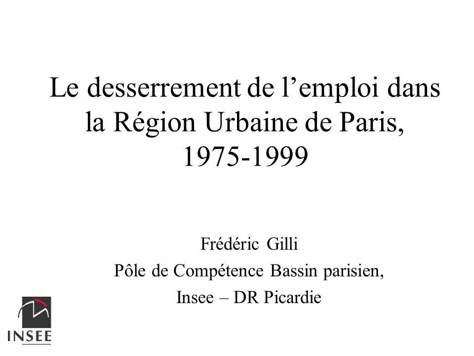Le desserrement de lemploi dans la Région Urbaine de Paris, 1975-1999 Frédéric Gilli Pôle de Compétence Bassin parisien, Insee – DR Picardie