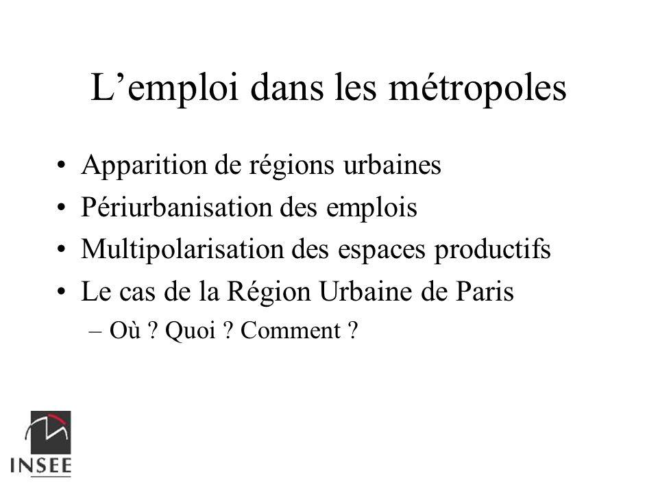 Lemploi dans les métropoles Apparition de régions urbaines Périurbanisation des emplois Multipolarisation des espaces productifs Le cas de la Région U