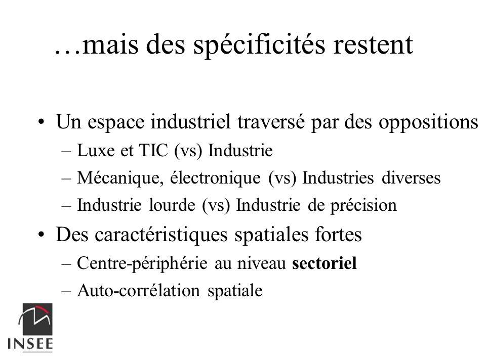 Un espace industriel traversé par des oppositions –Luxe et TIC (vs) Industrie –Mécanique, électronique (vs) Industries diverses –Industrie lourde (vs)