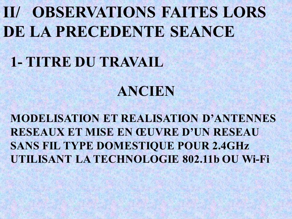 II/OBSERVATIONS FAITES LORS DE LA PRECEDENTE SEANCE 1- TITRE DU TRAVAIL ANCIEN MODELISATION ET REALISATION DANTENNES RESEAUX ET MISE EN ŒUVRE DUN RESEAU SANS FIL TYPE DOMESTIQUE POUR 2.4GHz UTILISANT LA TECHNOLOGIE 802.11b OU Wi-Fi